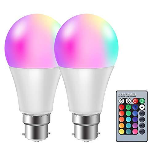 moinkerin 2 Piezas Bombilla LED B22 Regulable Bombilla LED Colores Bombilla RGB 10W(Equivalente a 60W) Función de Memoria de 16 Colores para el Hogar, Bar, Fiesta, Pub Iluminación Ambiental