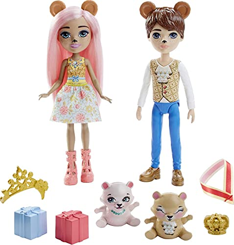 Royal Enchantimals Bonita Bear y Bannon Bear Pack 2 muñecos oso con mascotas, accesorios y ropa de gala (Mattel GYJ07)