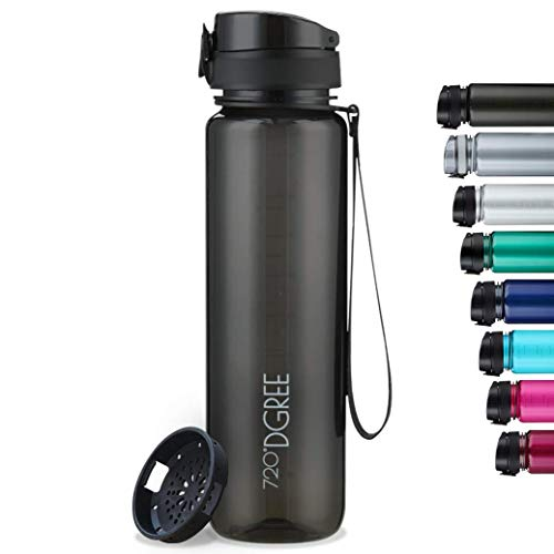 """720°DGREE Trinkflasche """"uberBottle"""" crystalClear +Sieb - 1l - BPA-Frei - Wasserflasche für Sport, Gym, Fitness, Fahrrad, Outdoor, Uni - Sportflasche aus Tritan - Leicht, Bruchsicher, Nachhaltig"""