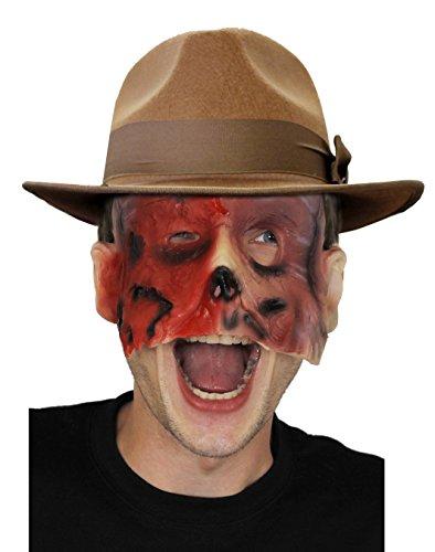 Disfraz de adulto para hombre de noche de Halloween  Mscara facial quemada + sombrero marrn de fedora  Asesino serie de olmo  sombrero de 55 cm (para cabezas ms pequeas)