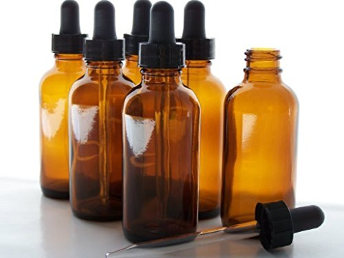 Nelipo 2oz Amber Glass Bottles for Essential Oils with Glass Eye Dropper (6 Pack)