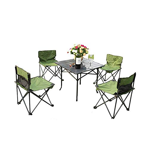 Folding Camping Tisch, bewegliche und Stuhl Kombination im Freien und Stuhl Fünfstück Satz mit Aufbewahrungstasche kann tragbar und Schulter Multifunktions-Campingtisch sein 8bayfa