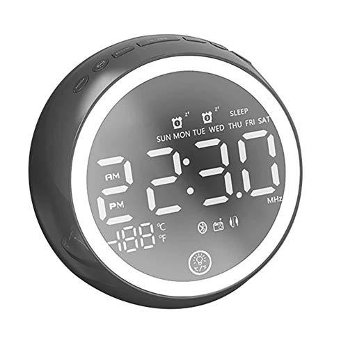Yaobuyao Nacht Licht Dubbele Alarm Klok Bluetooth Mini Luidspreker/Multi-Functie Usb Radio Alarm Klok Luidspreker Led Alarm Klok Bluetooth Audio Slaap Licht FM Radio HD Microfoon Automatische Uitschakeling