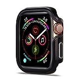 Flyuzi Cubierta para Apple Watch 6 Case 44mm 40mm Ultra-Full TPU TPU + Metal Bumper Protector Funda para el iWatch Series 5 4 6 Se Accesorios (Color : Black, Dial Diameter : 44mm serise 654 SE)