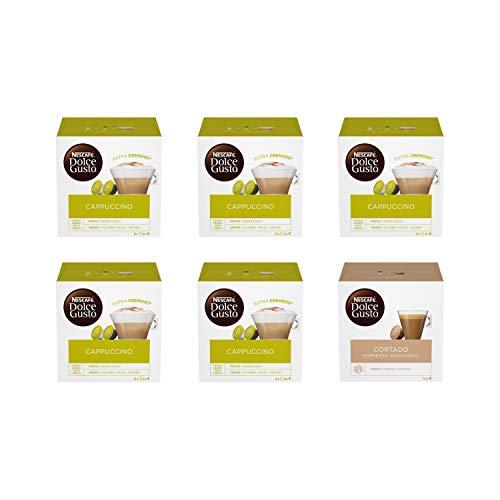 Nescafé Dolce Gusto Cappuccino 5 Confezioni, Cortado Espresso Macchiato 1 Confezione (96 capsule)