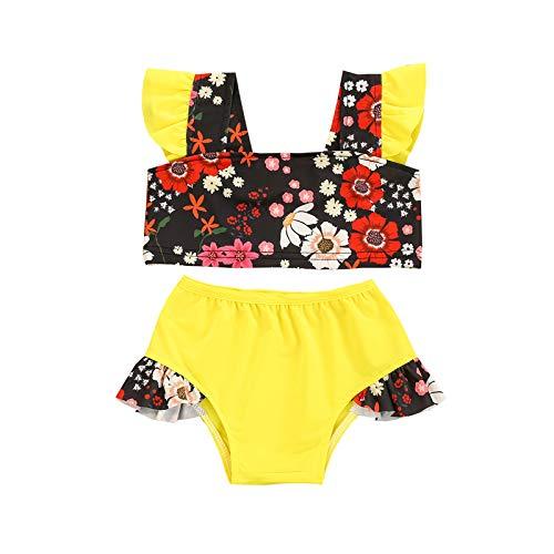 Toddler Baby Girls Swimsuit Ruffled Sleeveless Swimwear One-Piece Beachwear Bathing Suit