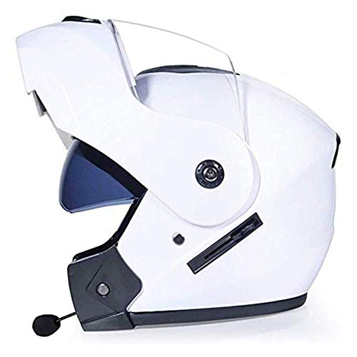 JXINGY Bluetooth Dual Visors Full Face Flip Up Motorcross Helmets, Personality Four-season Motorcycle Off-road Helmet, ATV MTB BMX Quad Cross-country Bike Full Face Crash Helmet