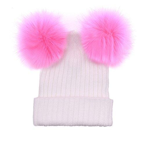 FeiyanfyQ Moda Mujer Invierno Cap Beanie Warm Cable Knit Hat con punto Faux Fur Ball para Lindo Boy Mujeres Bebé Señora Caliente Regalo Blanco+Rosa
