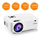 Video Projector, [2020 Upgraded] 5500 Lumen Mini Projector, 1080P Supported, Full HD 210' Display, Compatible with Phone/VGA/TV/PS4/DVD Ideal for Home Theater