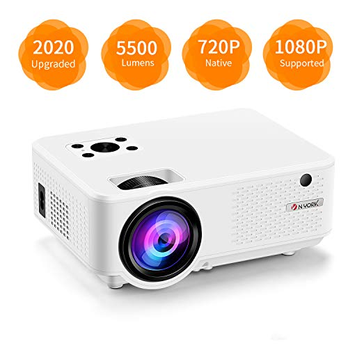 "Video Projector, [2020 Upgraded] 5500 Lumen Mini Projector, 1080P Supported, Full HD 210"" Display, Compatible with Phone/VGA/TV/PS4/DVD Ideal for Home Theater"