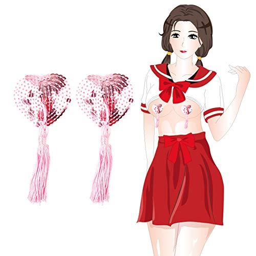 UYTE Brustwarzenaufkleber, klebende Brustpasteten Pailletten-Brustwarzenaufkleber Abdeckung Quaste Brust Concealer Pad für Frauen Pink