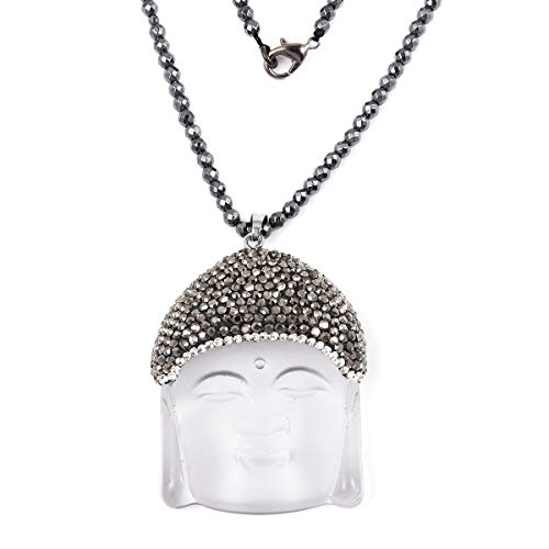 Shop LC Mothers Day Gifts Silvertone Carved White Glass Hematite Crystal Beaded Buddha Pendant Necklace Engagement Wedding Anniversary Delicate Jewelry for Women Size 32'