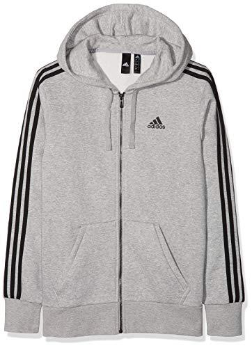 adidas Herren Essentials 3 Stripes Full Zip Kapuzen-Jacke, Medium Grey Heather/Black, S