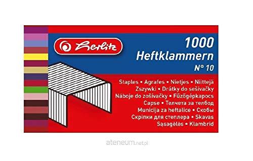 Herlitz 8760613 Heftklammern Nummer 10 verzinkt, 1000 Stück, metall