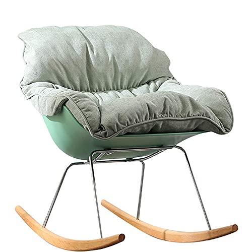 COUYY Silla corredera Individual Moderno Home Lazy Sofa Lounge Sala de Estar Interior Dormitorio Soporte de Metal Sillón de Ocio,Verde
