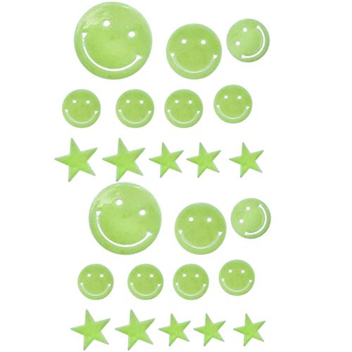 Xinlie Estrellas Fluorescentes para Techo Pegatinas Estrellas Fluorescentes Estrellas Cara Sonriente Pegatina de Pared Adesivos Paredes Decoración Pegatinas Infantiles Pared Decorativas 24 Piezas