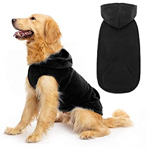 EXPAWLORER Fleece Dog Hoodies with Pocket, Cold Weather Spring Vest Sweatshirt with O-Ring, Black S