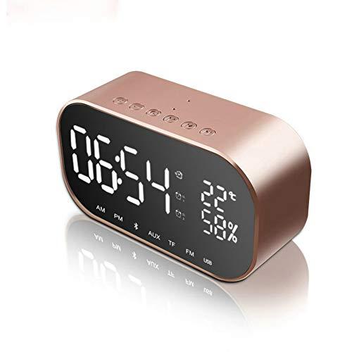 GuDoQi Radio Réveil à Projection FM avec Double Alarmes Horloge Numérique USB Emplacement pour Carte TF Micro Intégré Fonction Snooze Minuteur De Mise en Veille12/24H Grand Ecran LED avec Gradateur