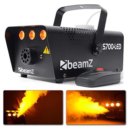 Beamz S700-LED Nebelmaschine mit Flammeneffekt, Leistung 700W, 250-ml-Tank, Durchfluss des Nebels 7m³/min, Fernbedienung mit 3m Kabel und Wand- und Deckenhalterung, 3Minuten Aufwärmzeit, schwarz