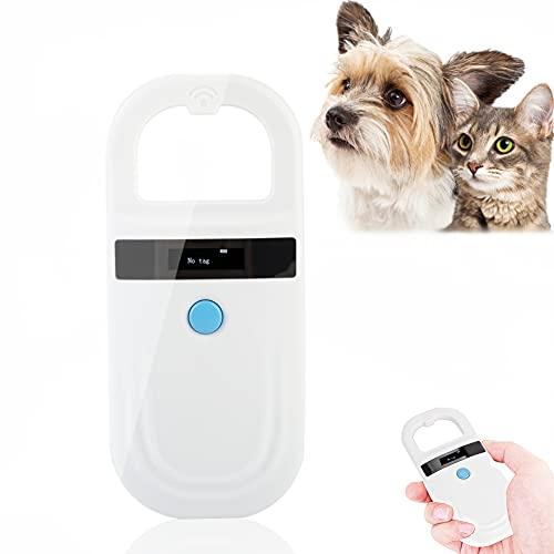 Microchip Scanner, RFID 134.2Khz Haustier-ID-Mikrochip-Reader, OLED-Anzeige, 128 Stück Tag-Informationsspeicher für die Tierverfolgung