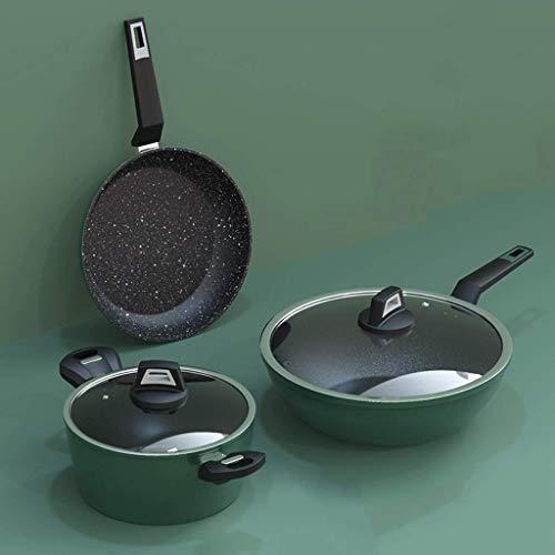QZH Juego de Utensilios de Cocina Juego Completo de Cocina de inducción combinada para el hogar Olla de Cocina a Gas Cocina Antiadherente de Tres Piezas