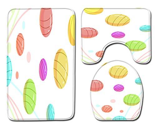 Badmat Kleed 3-Delige Set Zachte Kleurrijke Snoepjes Toiletbril Cover Badmat Deksel Cover Badmat Family Home Decor