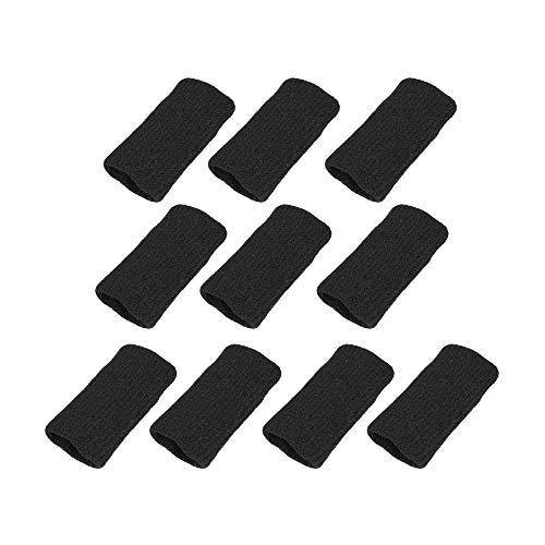 Sourcingmap 10PCS Black Sports Elastic Finger Support Sleeve Protector