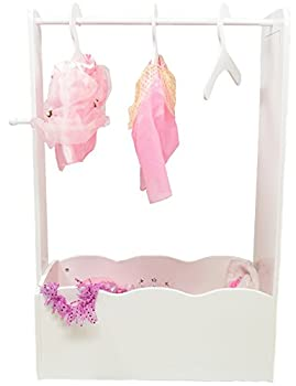 MMP Living Dress Up Center with Full Length Mirror Knob and 3 Hangers - White 3 feet Tall