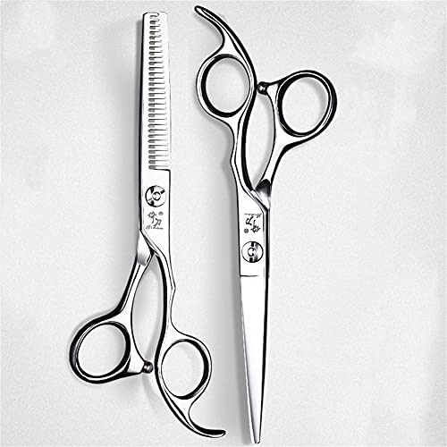 XJPB Tijeras Profesionales de barbero fijados cortando cizallas de Corte de Cabello Set de Tijeras de peluquería Conjunto de 6.0 Pulgadas 440C Acero Inoxidable para Mujer Mujer Mujer