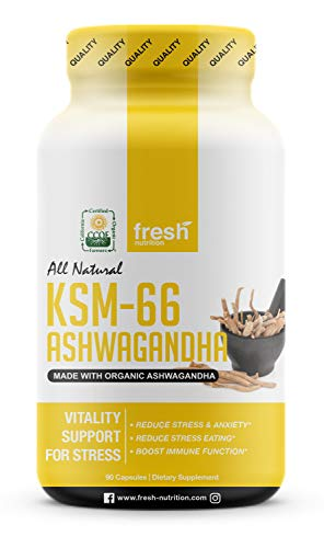 Organic KSM-66 Ashwagandha Root Extract - 700mg High Potency 5% Withanolides (75mg)- Reduces Stress & Anxiety Relief Like Kava Kava - Energy & Focus - 90 Veggie Capsules