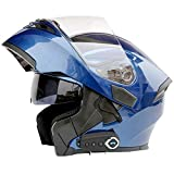 Casco de Motocicleta Bluetooth integrada con micrófono Oculto Moto abatible Casco Integral con Doble Lente, FM,A,XL