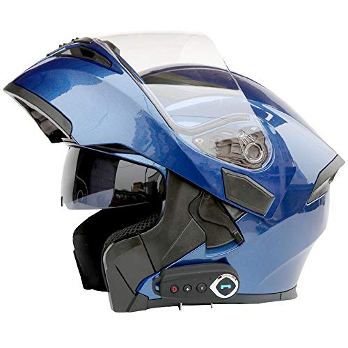 Casco de Motocicleta Bluetooth integrada con micrófono Oculto Moto abatible Casco Integral con Doble Lente, FM,A,XXL