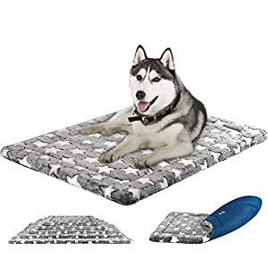 KROSER 24″/30″/36″/42″/48″ Dog Bed Reversible Mat (Warm & Cool) Stylish Pet Mat Pad High Density Foam Machine Washable Pet Bed for Dogs 25lbs-110lbs