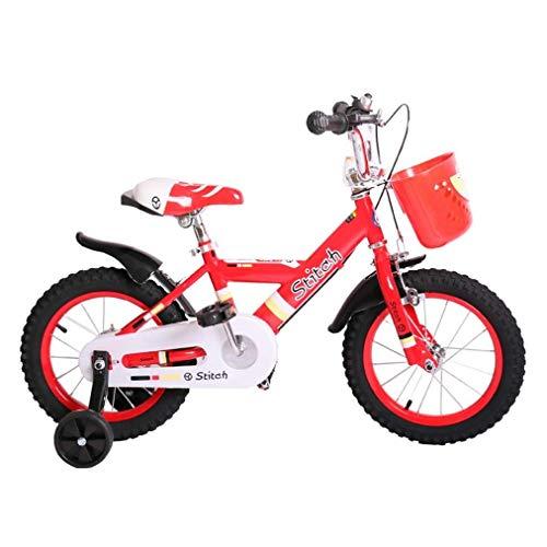 YUYUwa Bicicletas de los niños 12 14 16 Pulgadas, de niños Bicicleta Niño y Bicicleta al Aire Libre de la Bicicleta de Peso Ligero de la Muchacha con extraíble Ruedas de Entrenamiento, Rojo y Blanco