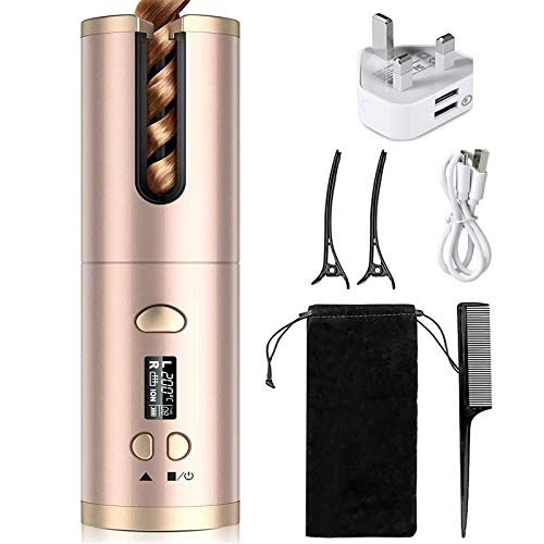 Cordless Hair Curler, QUARED Portable Auto Curling Iron Anti-Tangle, LCD Display, USB Rechargeable,...