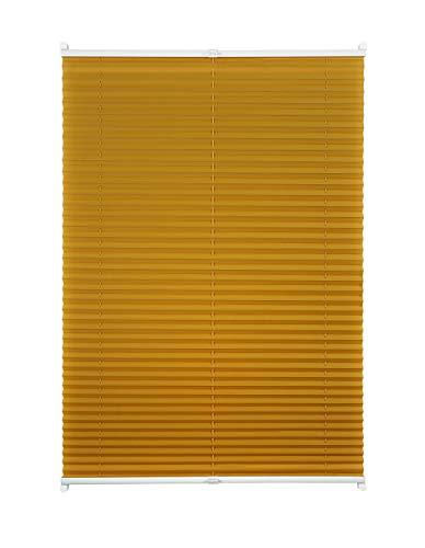 Plissee ohne Bohren viele Farben mit Klemmträger Sichtschutz Sonnenschutz für Fenster und Tür Gold-Ocker 75x130 cm
