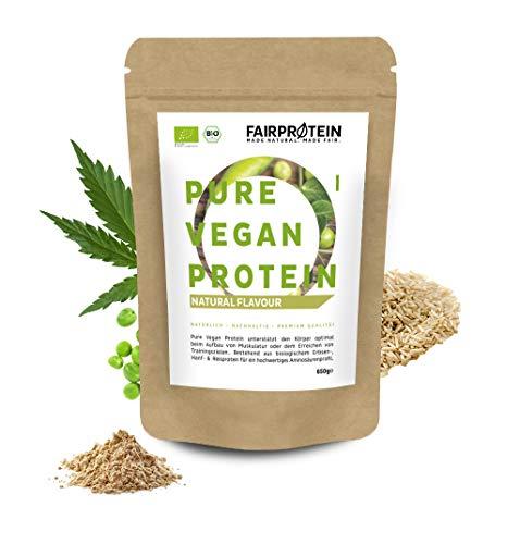 Fairprotein® Protein-Pulver Vegan BIO Neutral ohne Soja [aus Deutschland] - 650g veganes 3K Protein-Pulver ohne Süßungsmittel für Diät & Muskelaufbau - Bio Eiweiß-Pulver auch zum Backen ohne Zucker
