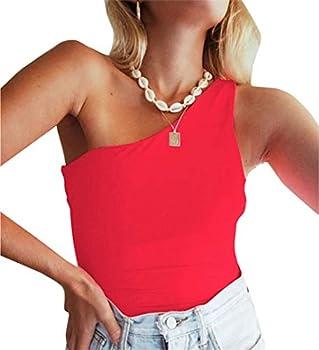 PRIMODA Women s Sexy One Shoulder Bodysuit Basic Sleeveless Summer Leotard Top  Red,S