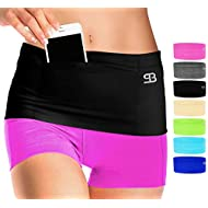 Stashbandz Sports Running Belt Waist Pack, Travel Money Bag Fanny Pack Workout, 3 Large Security Pockets Plus 1 Zippered Pocket Pouch Fits Phones and More, Extra Wide Spandex, USA Made