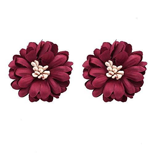 TIANYOU Novedad Joyas-Mujeres Pendientes Pendientes Pendientes Pendientes de gota Oreja, versión coreana de los pendientes con estilo, tela de moda sencilla Pendientes de flores hec
