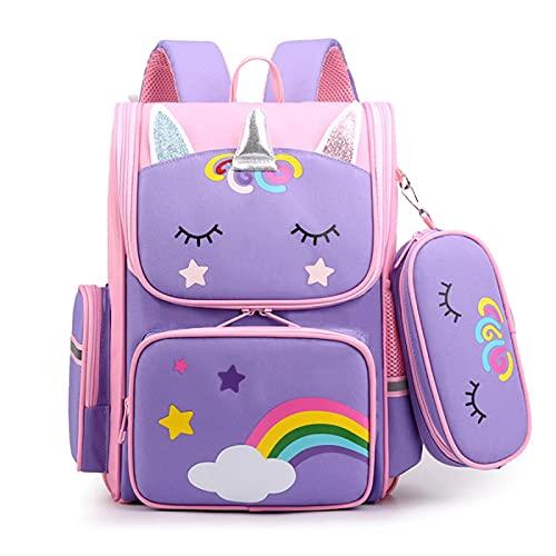 ZWRY Mochila infantil Dibujos animados 3D unicornio niños mochilas escolares dulce niños mochila escolar ligero impermeable mochilas escolares grandes pequeñas
