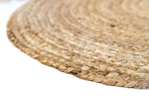 HAMID Alfombra Yute Alhambra Color Natural Redonda - Alfombra 100% Fibra de Yute (100x100cm)