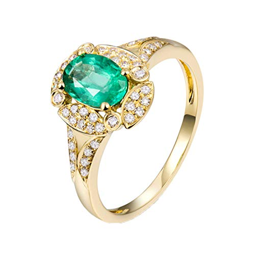 Beydodo Emerald Ring for Women, Birthstone Rings for Women May Size I 1/2 with Diamond and Emerald 0.73ct - 18k Yellow Gold Rings for Women