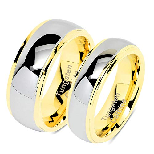 Aeici Tungsten Ring for Couple I Love You Wedding Band for Him and Her Women Size 7 & Men Size 9