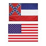 Hukz 2 Stück Staatsflagge von Mississippi, 90x150 cm Fahne mit Messingösen, Amerika Flagge/USA Fahne/Vereinigte Staaten von Amerika Flagge/USA Flag/Flag of The United State