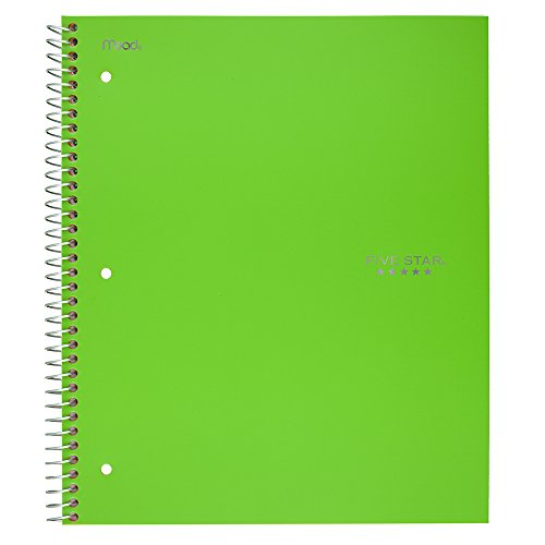 "Five Star Spiral Notebook, 5 Subject, College Ruled Paper, 200 Sheets, 11"" x 8-1/2"", Lime (73639)"