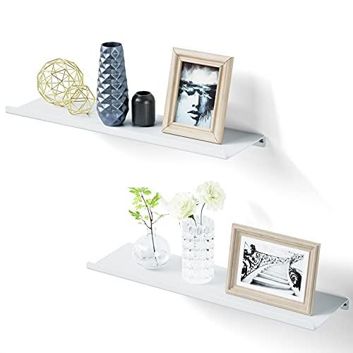 SRIWATANA Juego de 2 estantes flotantes de metal, diseño industrial, para salón, dormitorio, pasillo, baño, cocina, color blanco