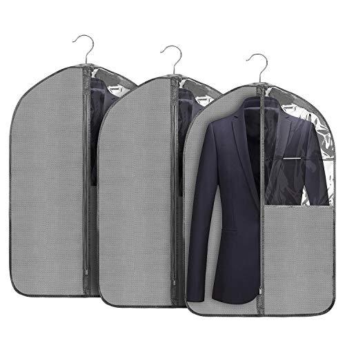 Jorlyen 3-Pezzi Borsa Porta Abiti 90 X 60 CM Versione più Spessa Custodie per Abiti Giacche Gonne Camicie e Altro