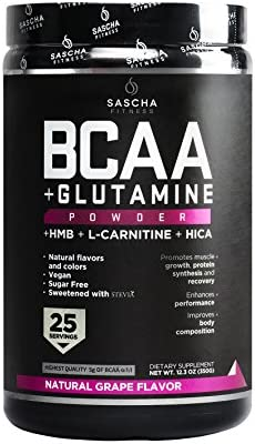 Sascha Fitness BCAA 4 1 1 Glutamine HMB L Carnitine HICA Powerful and Instant Powder Blend with product image