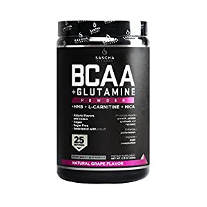 Sascha Fitness BCAA 4:1:1 + Glutamine, HMB, L-Carnitine, HICA | Powerful and Instant Powder Blend with Branched Chain…